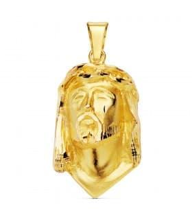 Colgante Busto Cristo Lágrima Oro Amarillo 18K 28 mm