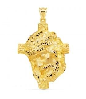 Colgante Busto Cristo Cruz Oro Amarillo 18K 48 mm