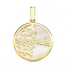 Colgante Nácar Nombre personalizado Oro Amarillo 18K