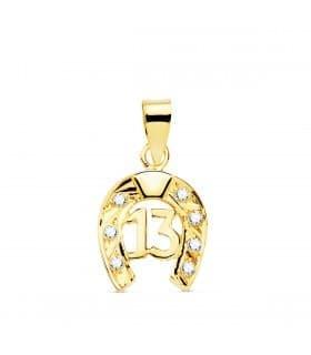 Colgante Amuleto Protector Herradura Nº 13 Oro Amarillo 18k 14 mm