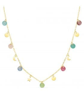 Collar Pastel Oro Amarillo 18K 40 cm Piedras Color