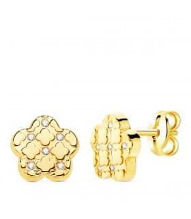 Pendientes Jolie Flor Oro Amarillo 18K