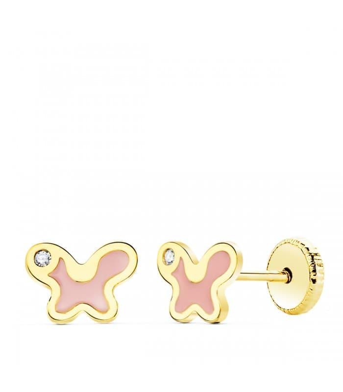 Pendientes Oro Amarillo 18K Mariposa rosa 7 mm