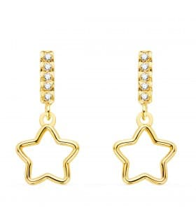 Pendientes Suli Oro Amarillo 18K Estrella