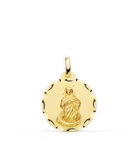 Medalla Virgen Inmaculada Oro 18K 18mm Tallada