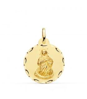 Medalla Virgen Inmaculada Oro 18K 22mm Tallada