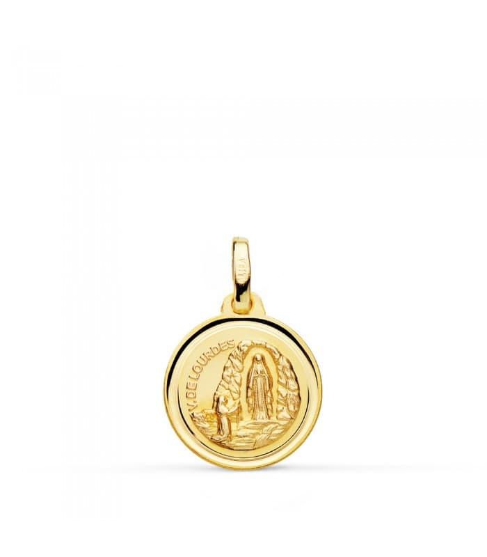 Medalla V. de Lourdes Oro 18K 14mm Bisel