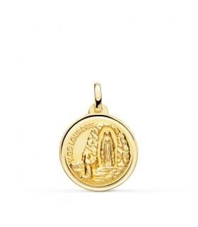Medalla V. de Lourdes Oro 18K 18mm Bisel