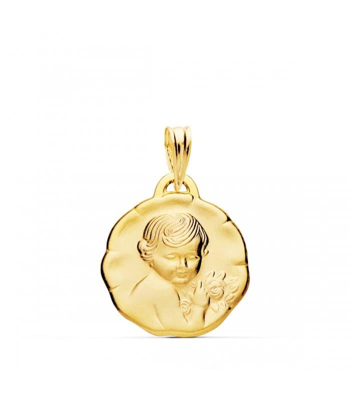 Medalla Dulce Niño de la flor Oro 18k Regalo bautizo bebé