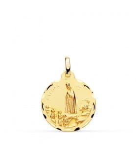 Medalla Virgen de Fátima Oro 18K 18mm Tallada