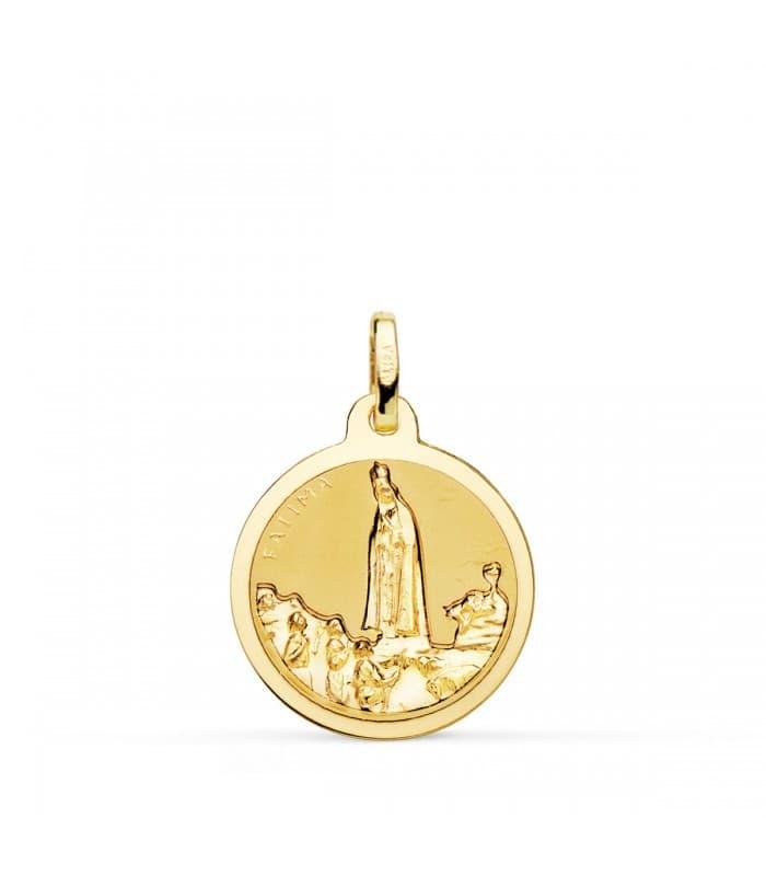 Medalla Virgen de Fátima Oro 18K 18mm Brillo