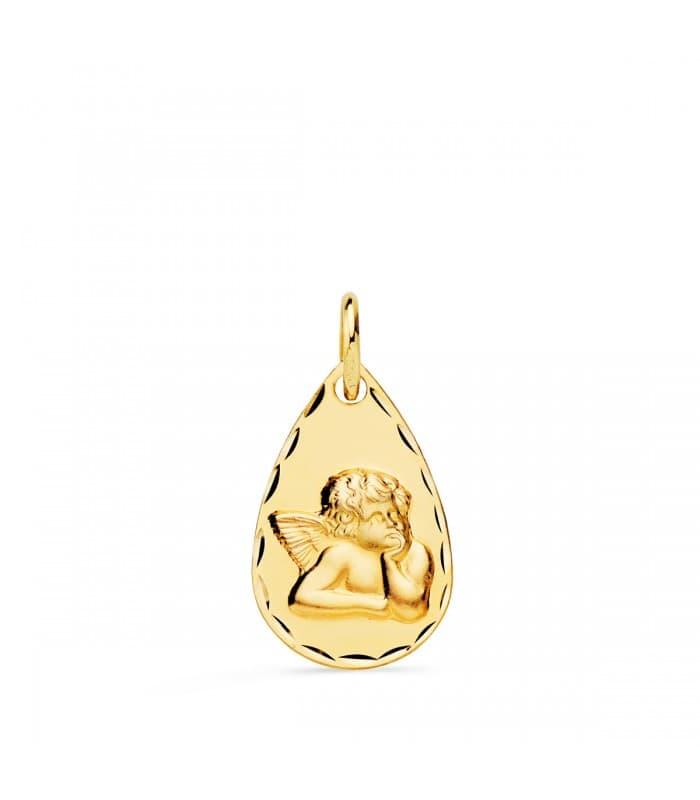 Medalla Ángel Gota Oro Amarillo 18 K 19 MM