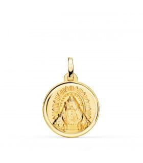 Medalla Virgen de las Nieves Oro 18K 18mm Bisel