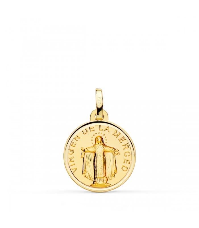Medalla Virgen de La Merced Oro 18K 16mm Bisel