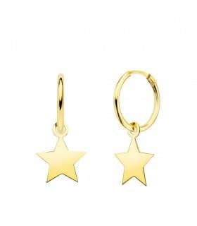 Aros Colgante Estrella Oro Amarillo 18k pendientes pequeños para diario