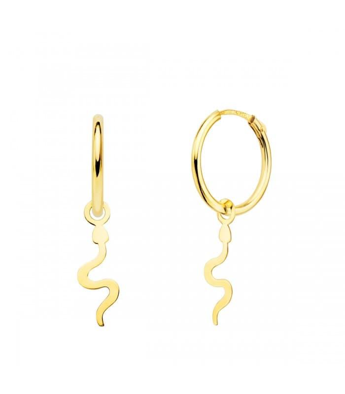 Aros Colgante Serpiente Oro Amarillo 18k pendientes pequeños para diario