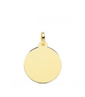 Chapa Redonda Oro 18K 18 mm Brillo colgante personalizado joya con fotografías grabado
