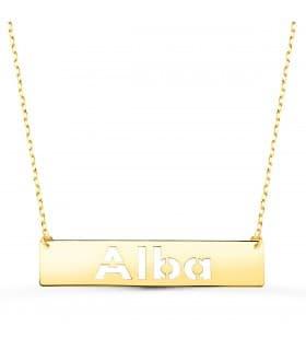 Collar nombre personalizado barra Oro Amarillo 18K M