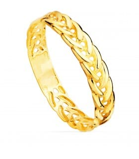 Sortija Oro amarillo 18K Trenza anillo trenzado de oro moderno