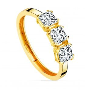 Anillo Princesa Oro amarillo 18K sortija con piedras tresillo