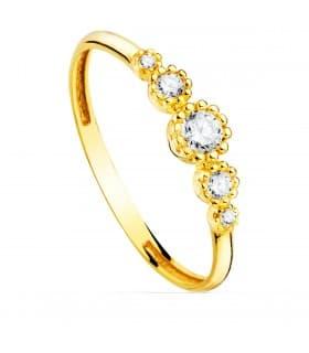 Anillo Corona Oro amarillo 18K sortija diseño de tiara de oro con piedras