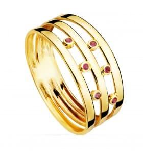 Anillo Red Band Oro amarillo 18K sortija de bandas con piedras joyas online de oro para mujer