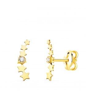 Pendientes Trepadores Petit Estrellas Oro 18K