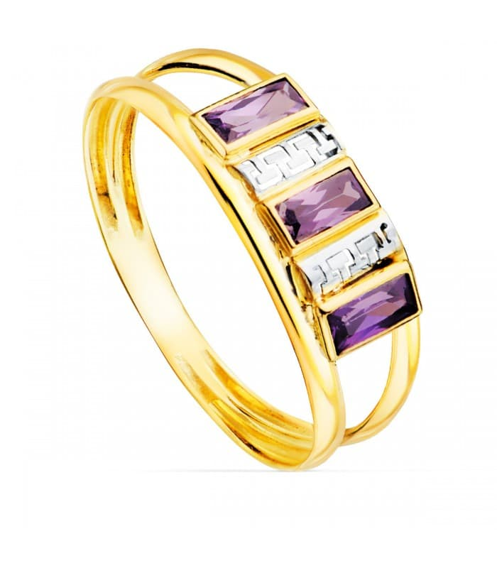 Sortija Bandas Oro Amarillo 9K Greca Lavender alda joyeros anillos con piedras amatista