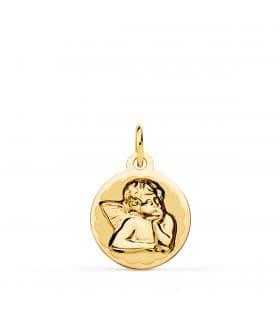 Medalla Bebé Ángel Burlón Oro Amarillo 18K 14mm comprar joyas online
