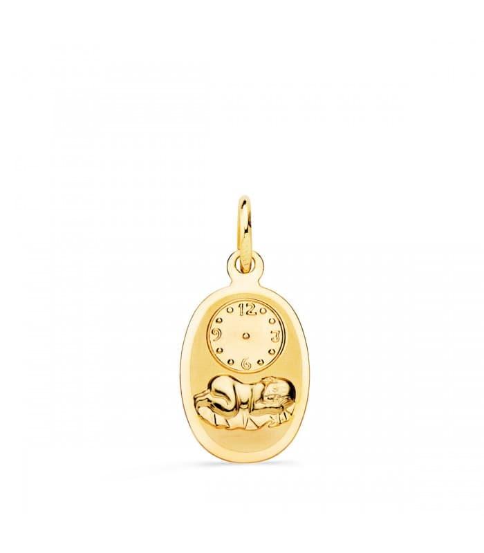 Medalla niño y reloj oval pequeña oro 18ktes
