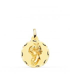 Medalla Virgen Niña Tallada Oro Amarillo 18 K 18 MM