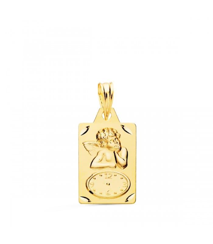 Medalla ángel y reloj rectangular oro 18ktes