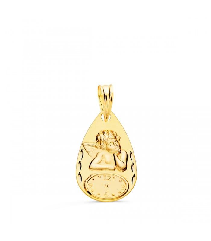 Medalla ángel y reloj gota oro 18ktes