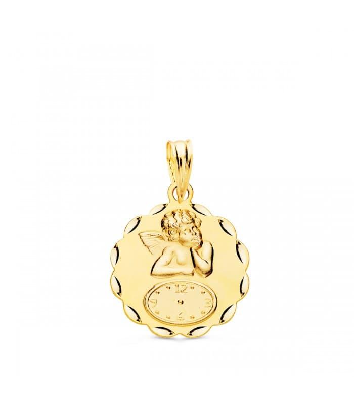 Medalla ángel y reloj hojas oro 18ktes