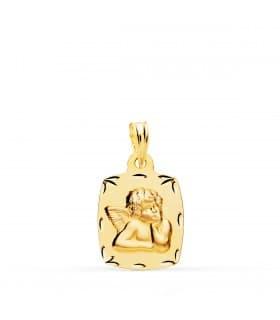Medalla Bebé Ángel de la Guarda Tonel Oro 18k 19 mm