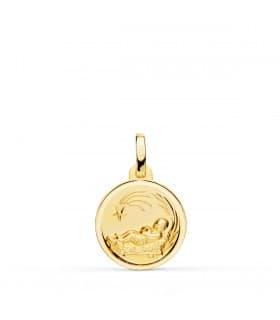 Medalla niño del pesebre oro 18K 14mm Bisel