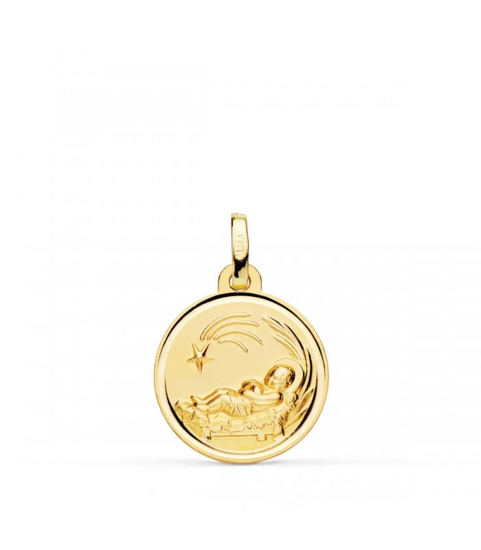 Medalla niño del pesebre grande oro 18ktes