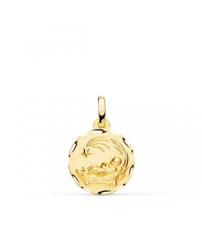 Medalla niño del pesebre pequeña oro 18ktes