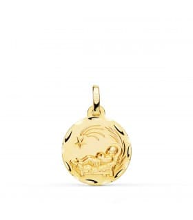 Medalla niño del pesebre oro 18K 16mm