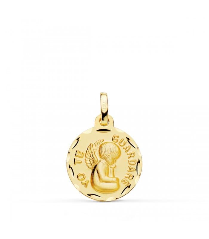 Medalla ángel de la guarda grande oro 18ktes