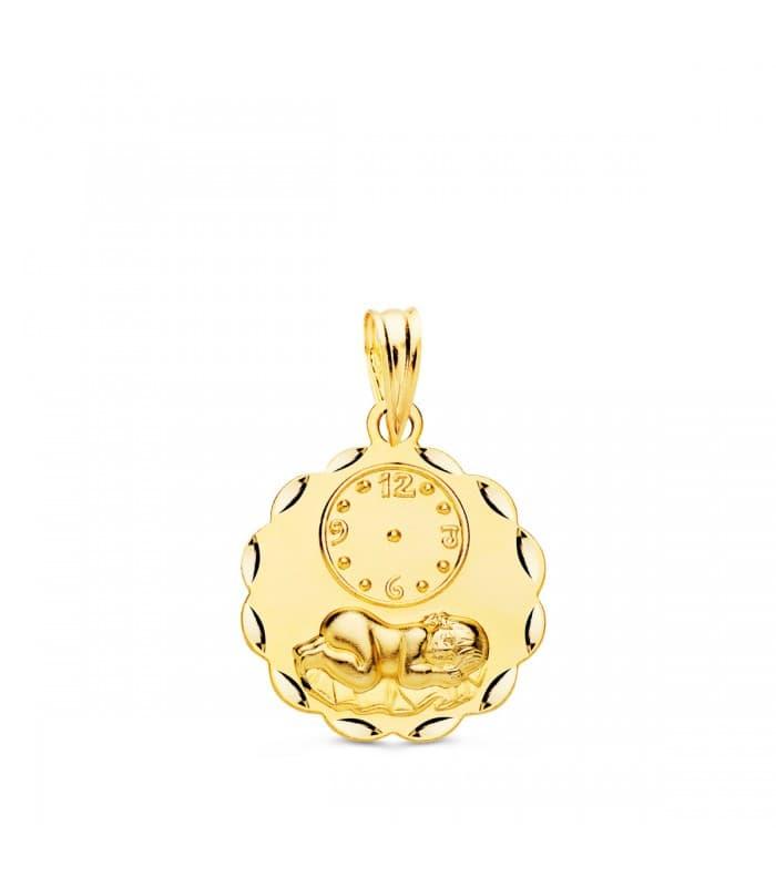 Medalla niño y reloj hojas oro 18ktes