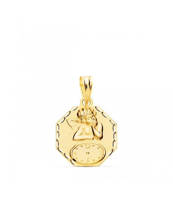 Medalla ángel y reloj octogonal oro 18ktes