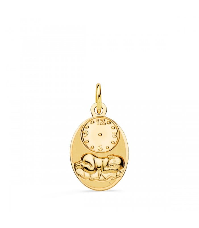 Medalla niño y reloj oval grande oro 18ktes