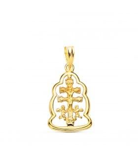 comprar joyas online - Colgante Cruz Caravaca Cerco Oro 18K 20 mm