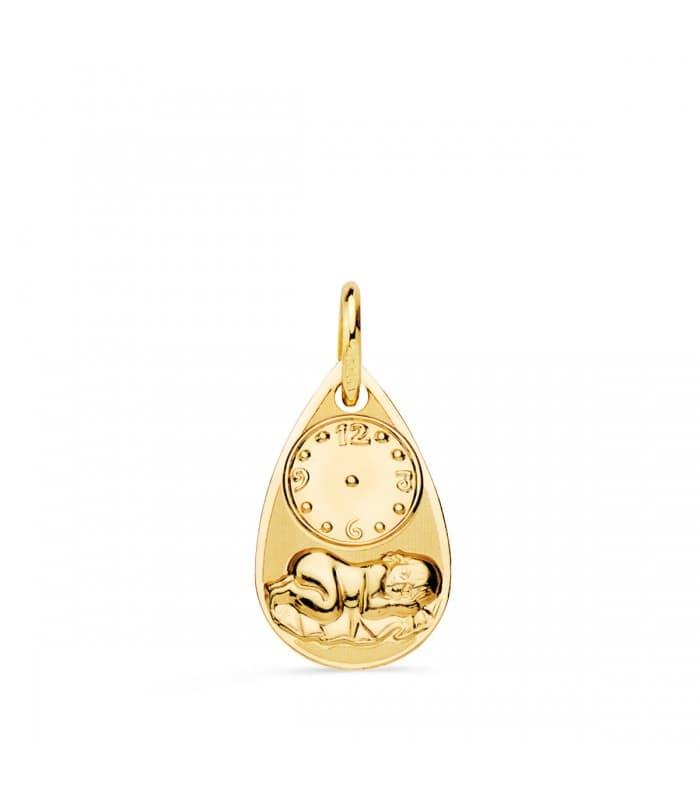 Medalla niño y reloj gota oro 18ktes