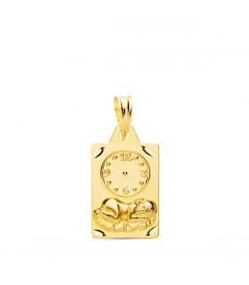 Medalla niño y reloj rectangular oro 18ktes