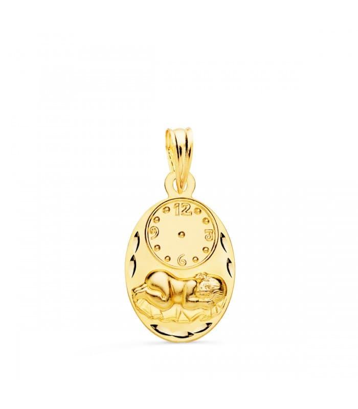 Medalla niño y reloj oval oro 9ktes