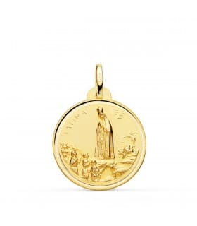 Medalla Virgen de Fátima Oro 18K 22mm Bisel
