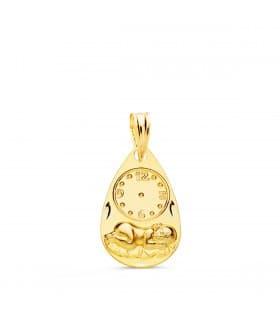 Medalla  niño  y reloj gota oro 9ktes