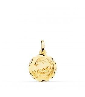 Medalla niño del pesebre pequeña oro 9ktes